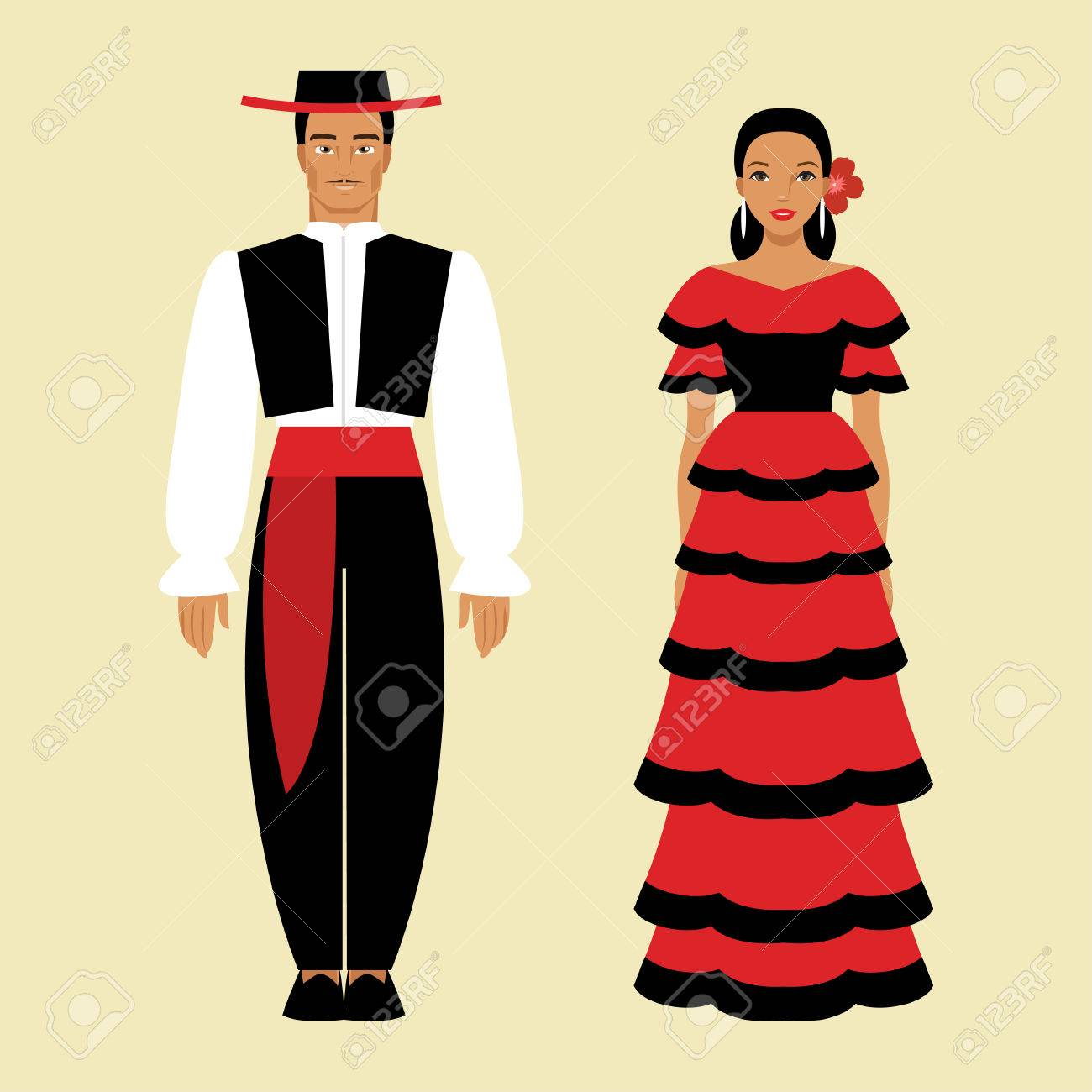 Illustration Of Spanish Men And Women In National Costume Royalty