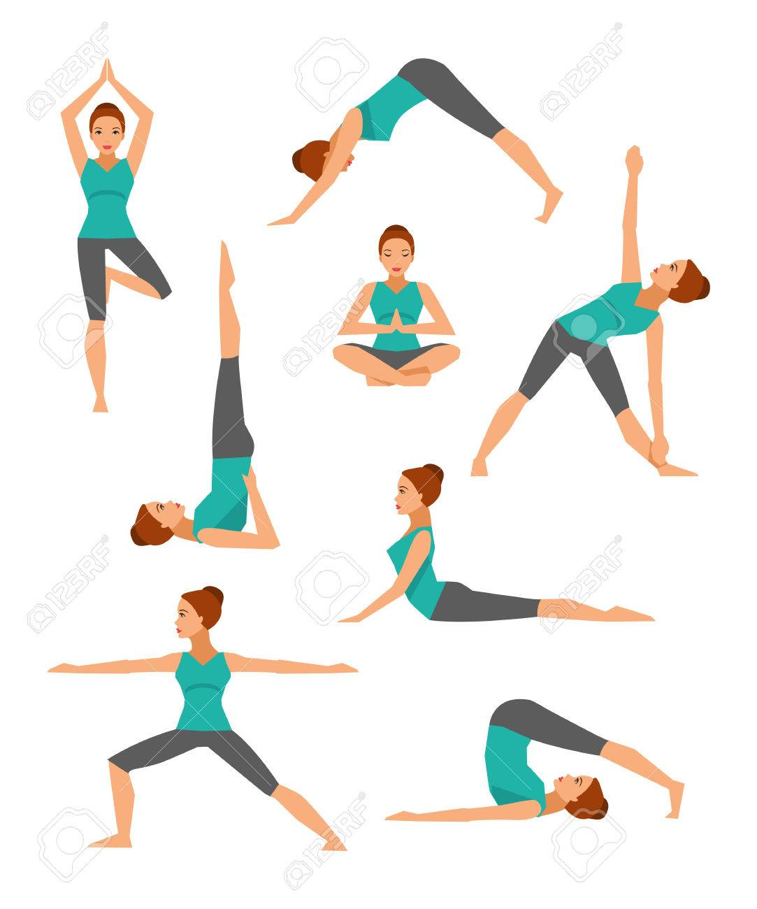 Collection Of Basic Yoga Asanas Healthy Lifestyle Royalty Free Cliparts Vectors And Stock Illustration Image 61405810