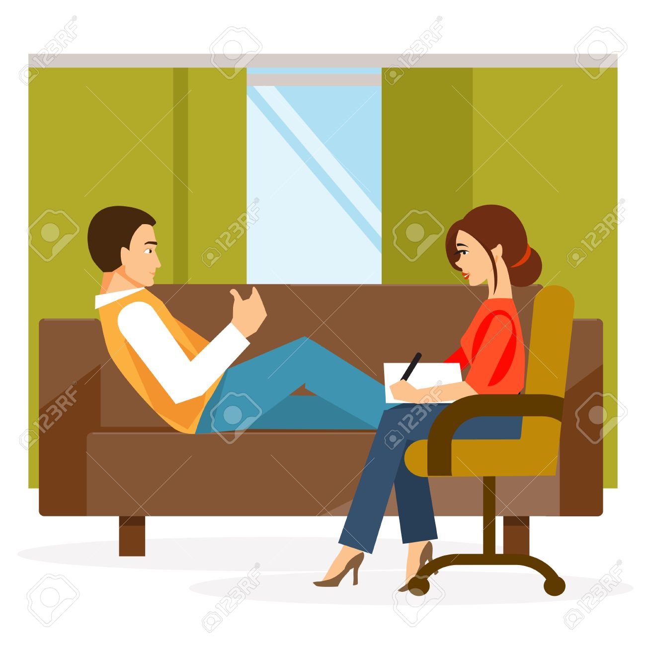 Paciente De Sexo Masculino En La Oficina De Un Psicólogo ...
