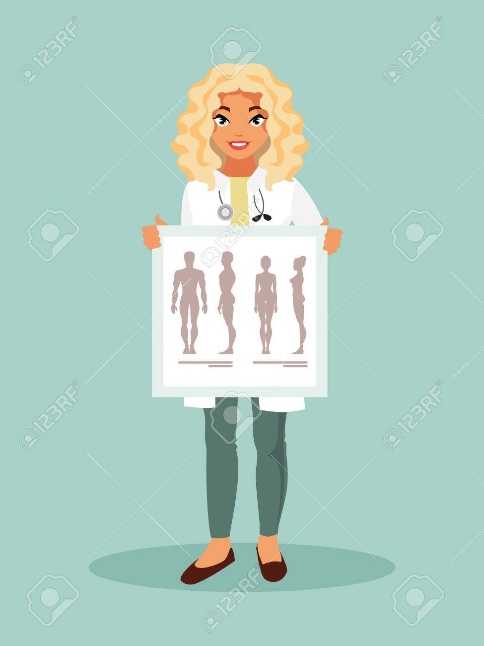 Female Intern With A Poster With The Human Anatomy. Vector ...