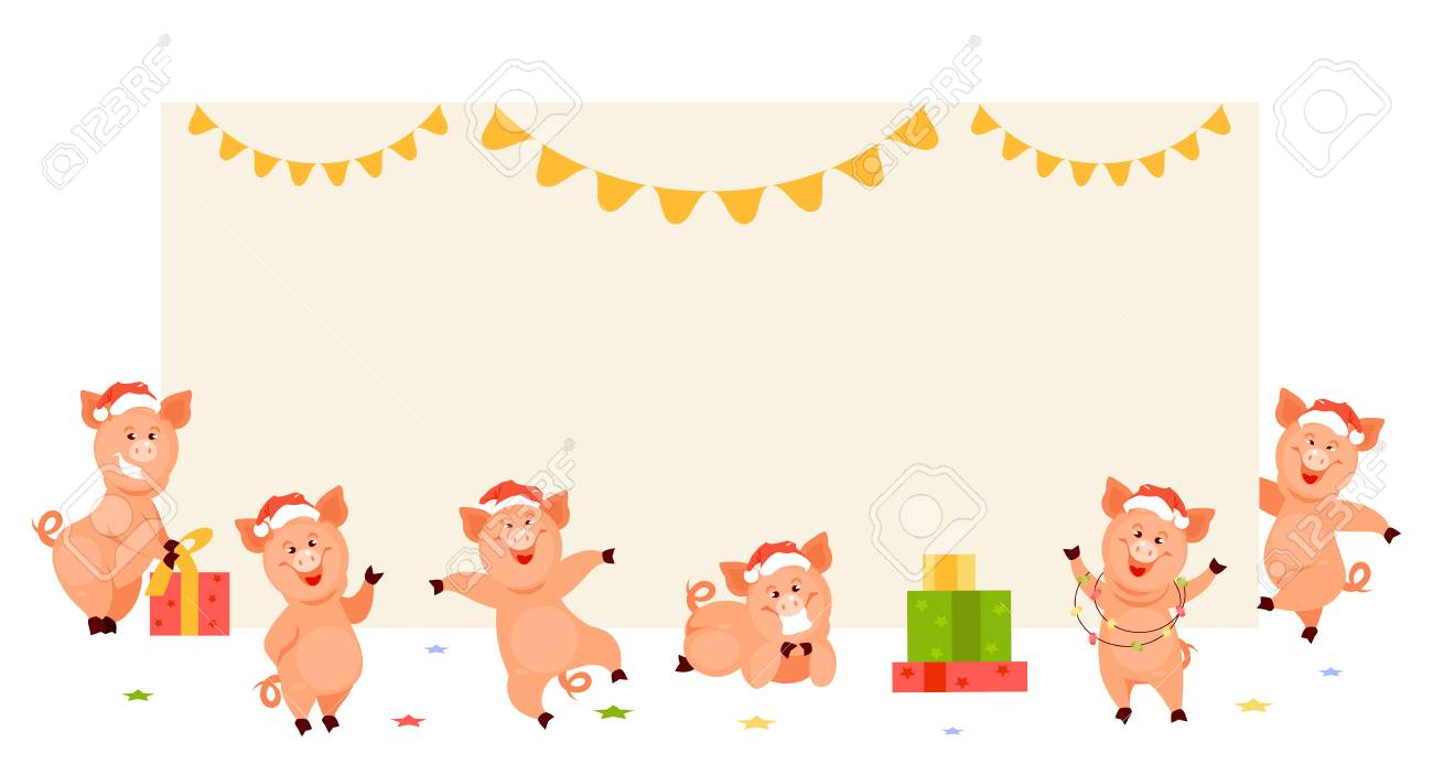 set christmas pigs near blank poster template for new year