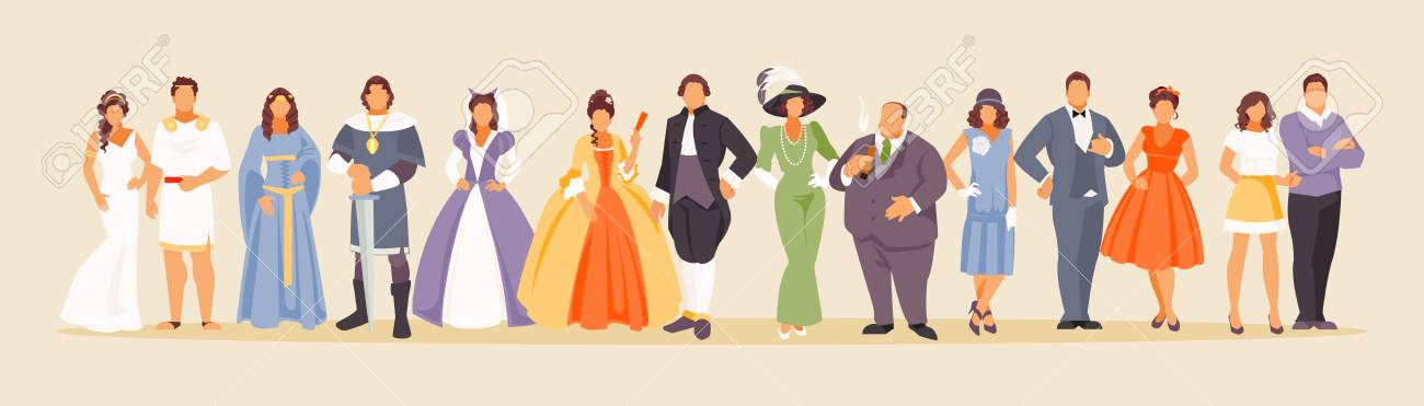 History of man and woman fashion from ancient times to the present. Development of mankind. Vector illustration of a large set of characters - 111454673