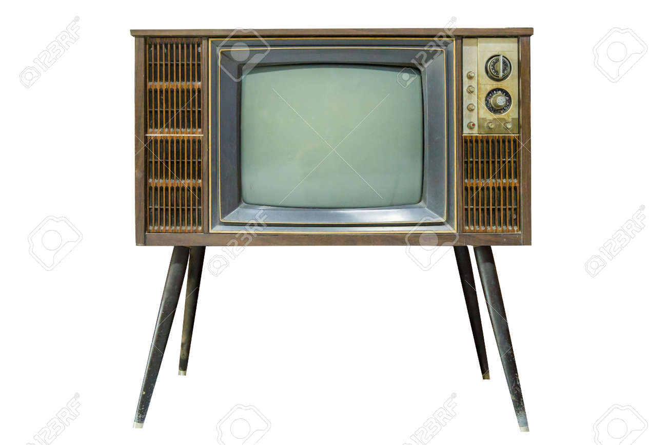 Old Television die cut on white isolated. - 158995103