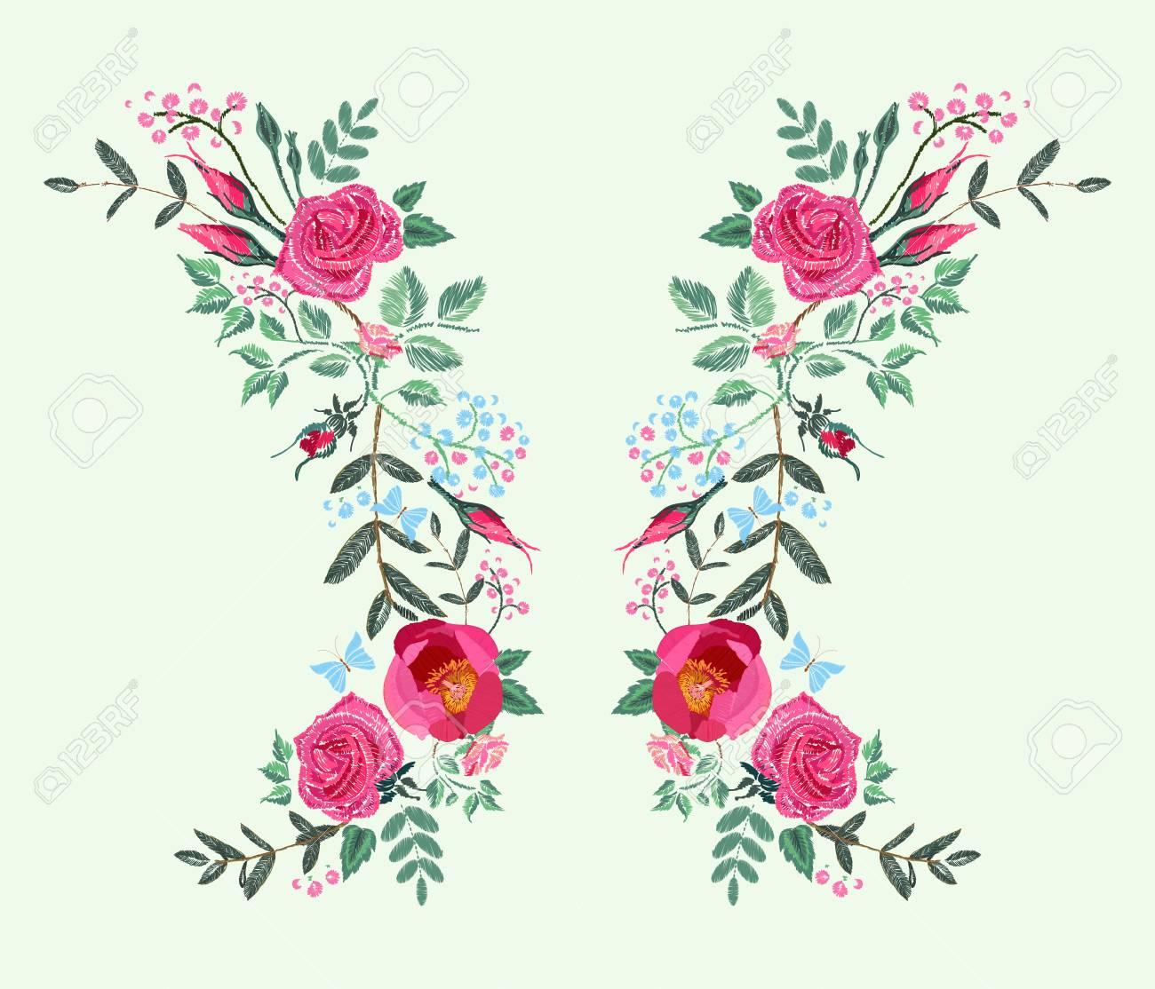 Diseño De Bordado De Vector Para El Vestido. Rosas Rojas Y Peonía ...