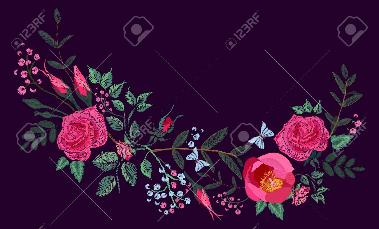 Vector Embroidery Design Red Pink Roses And Peony Floral Pattern Royalty Free Cliparts Vectors And Stock Illustration Image 85812798