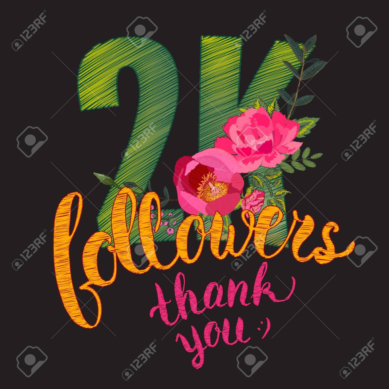 Vector Thank You 2K Followers Card. Thanks Design Template For ...