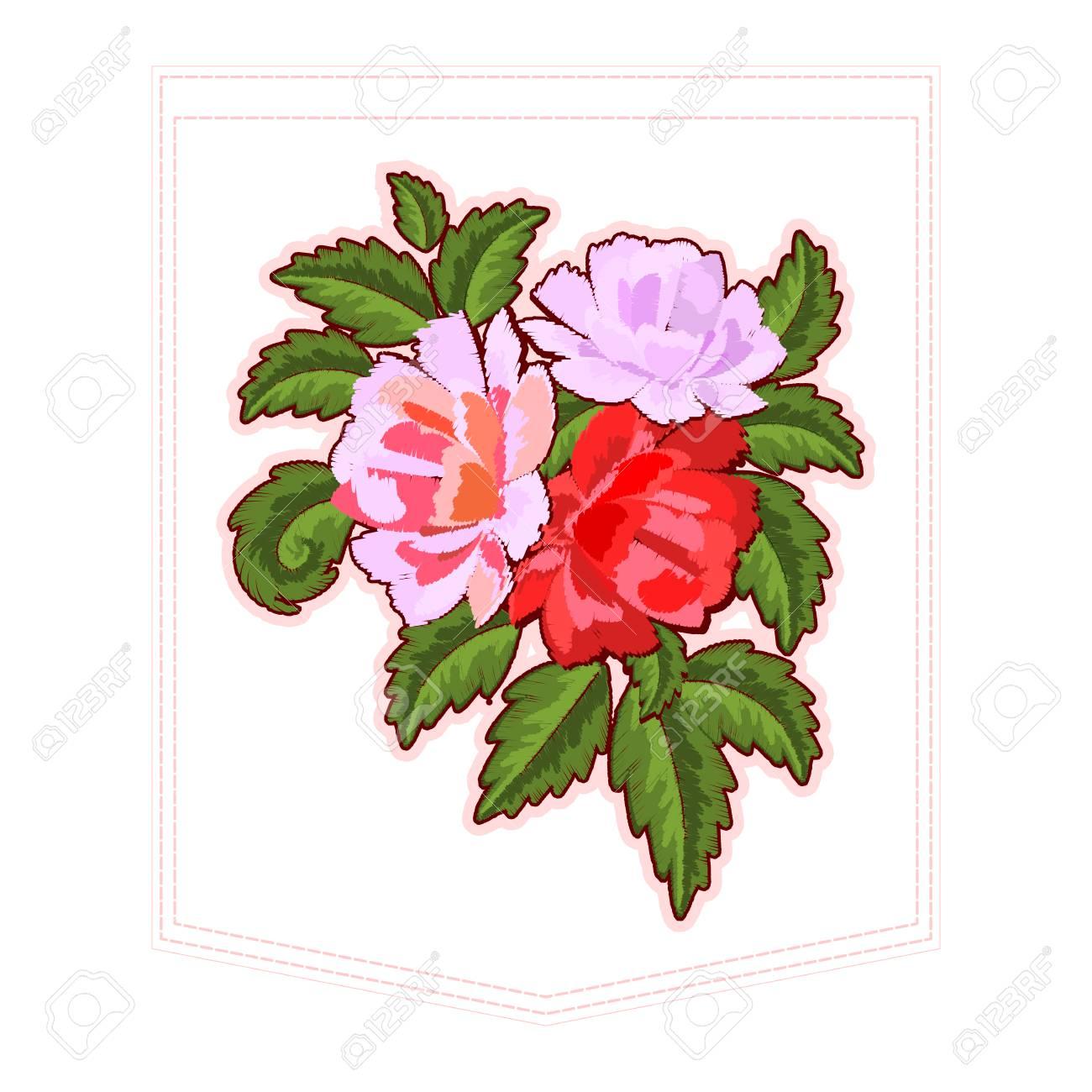 Peonies O Bordado De Rosas Rojas Para El Bolsillo De La Ropa. Patrón ...