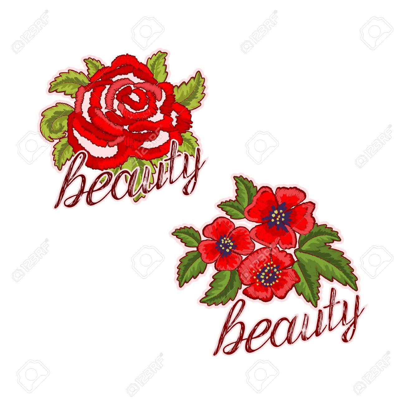 Parches Florales Y Pegatinas Bordadas Con Texto De Belleza. Flores ...