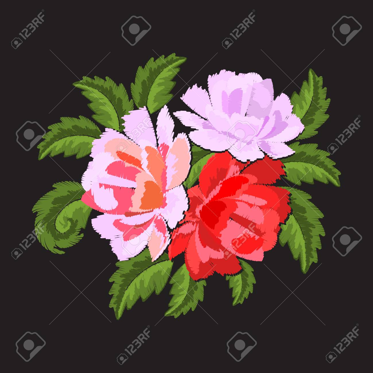 Floral patch sticker embroidered isolated on black background red floral patch sticker embroidered isolated on black background red and pink flowers peonies mightylinksfo