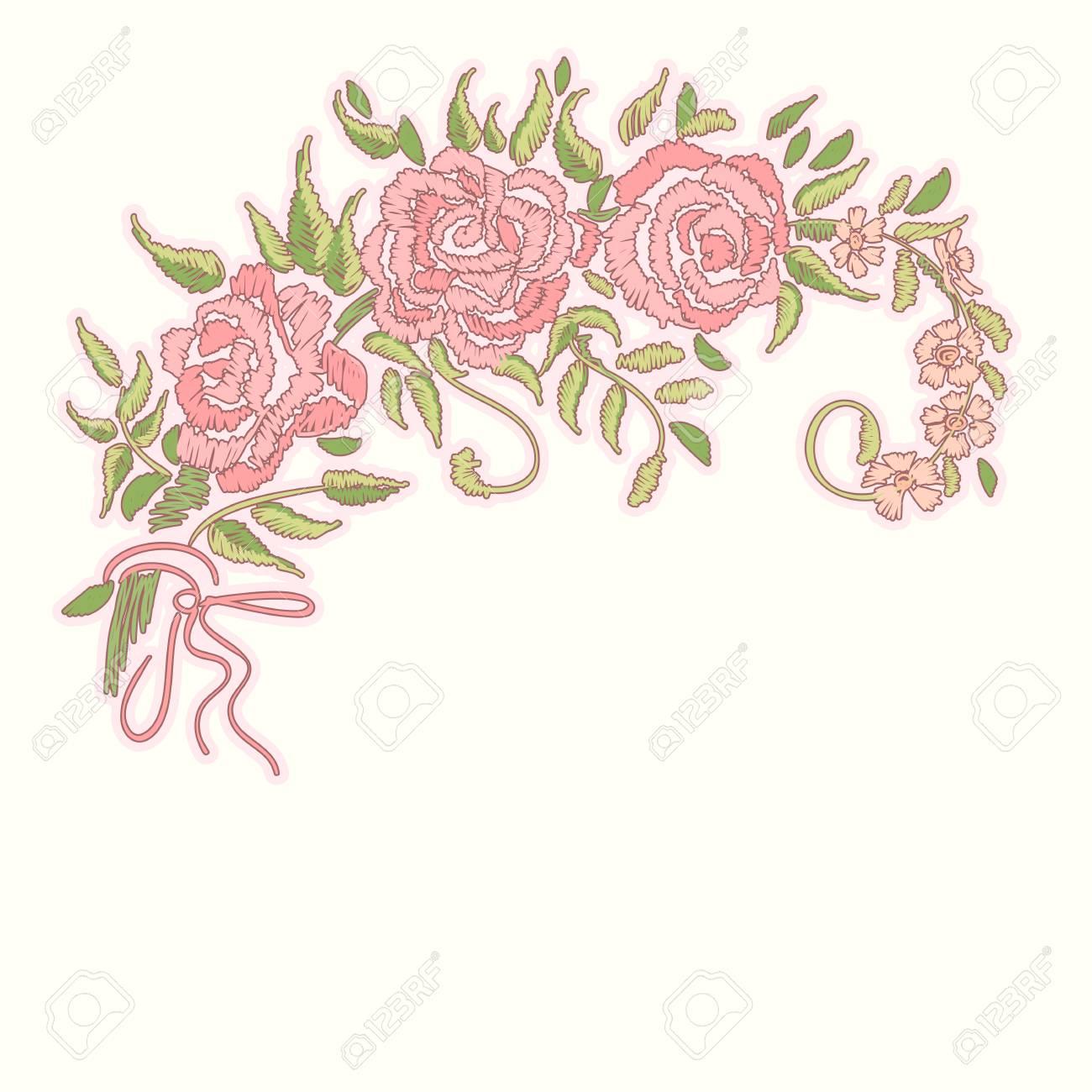 Bordado Rosado De Las Rosas Rojas En El Fondo Blanco. Patrón Floral ...
