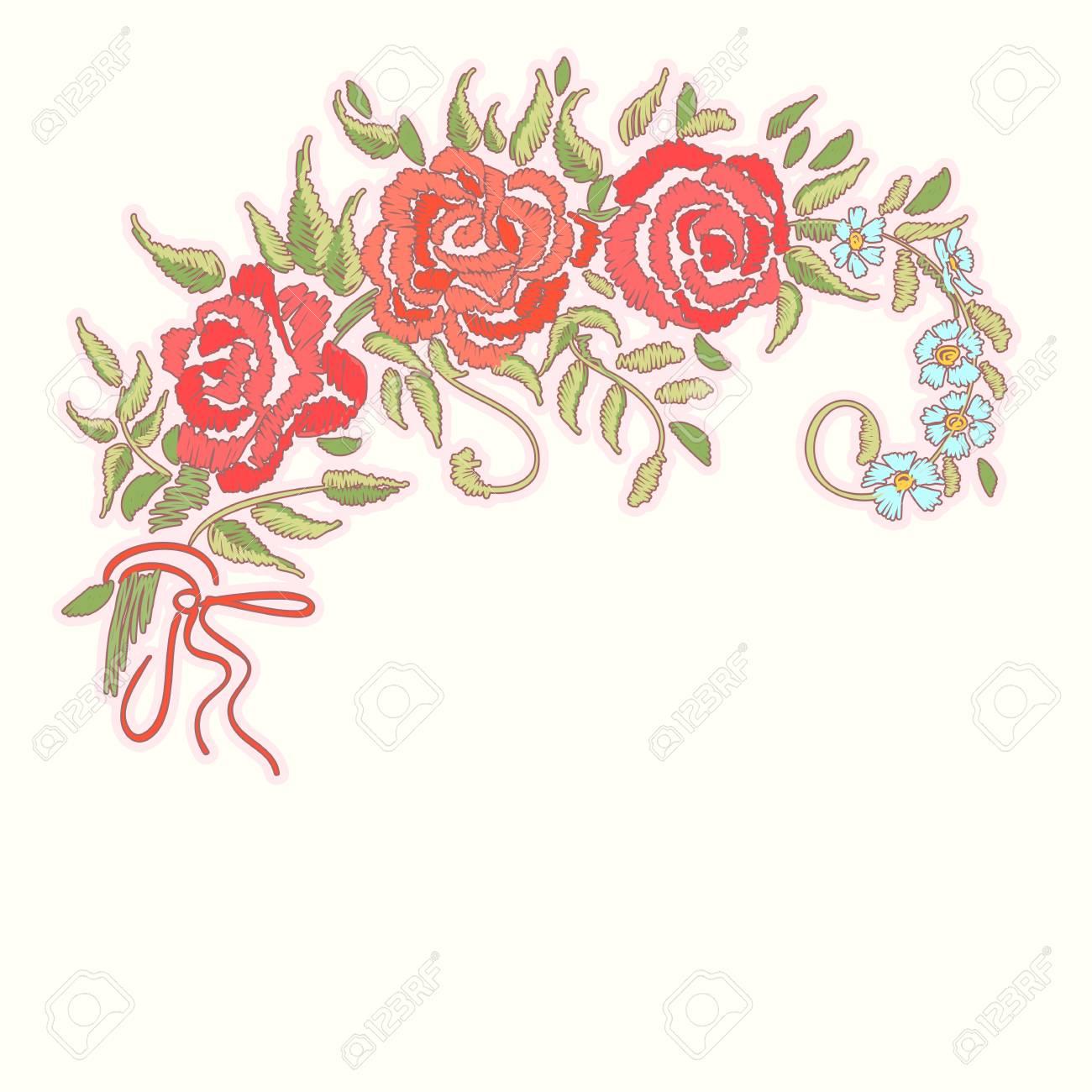 Bordado De Rosas Rojas Sobre Fondo Blanco. Patrón Floral Bordado ...