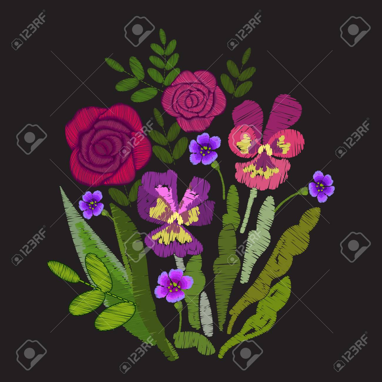 Red Roses And Violet Pansies Embroidered Flowers Embroidery Royalty Free Cliparts Vectors And Stock Illustration Image 86085009