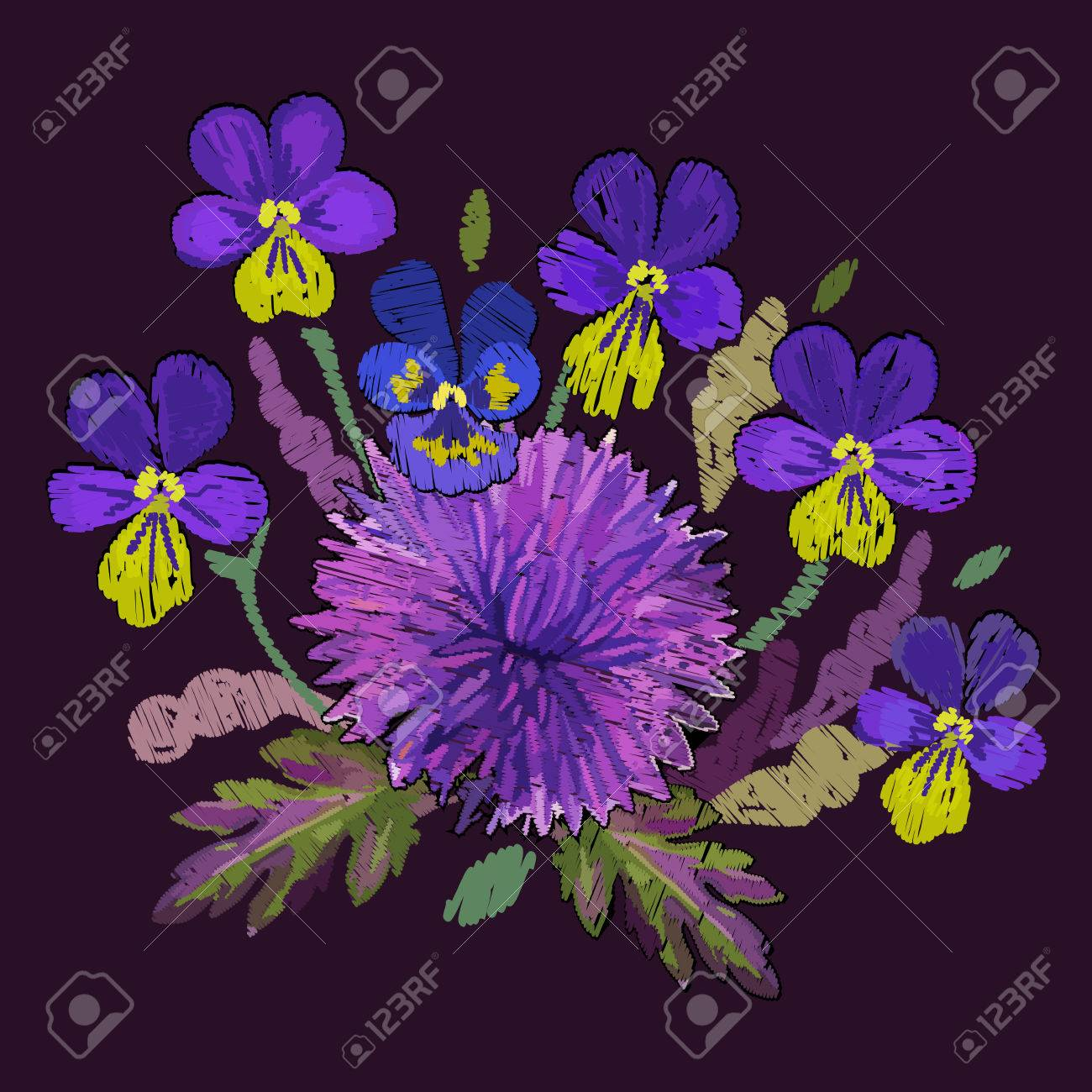 Chrysanthemum Violet Pansies Embroidered Flowers Embroidery Royalty Free Cliparts Vectors And Stock Illustration Image 86133131