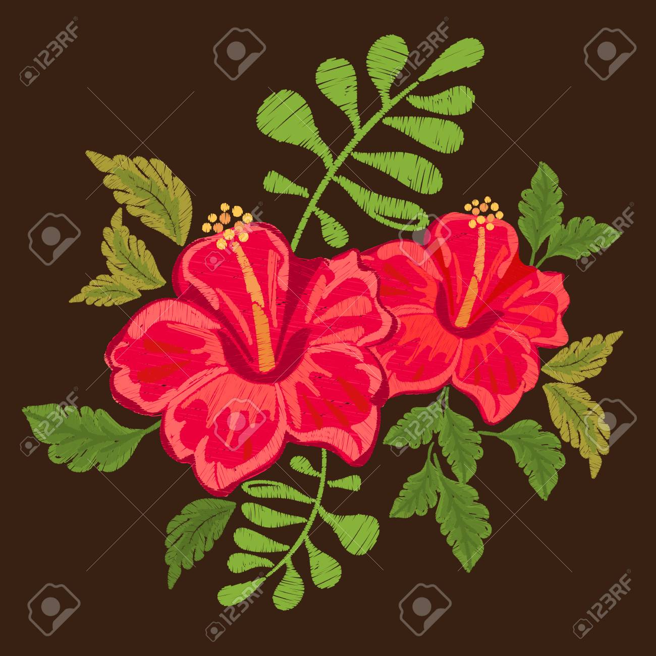 Hawaii symbol hibiscus floral embroidered pattern for fabric hawaii symbol hibiscus floral embroidered pattern for fabric stock vector 86085010 izmirmasajfo