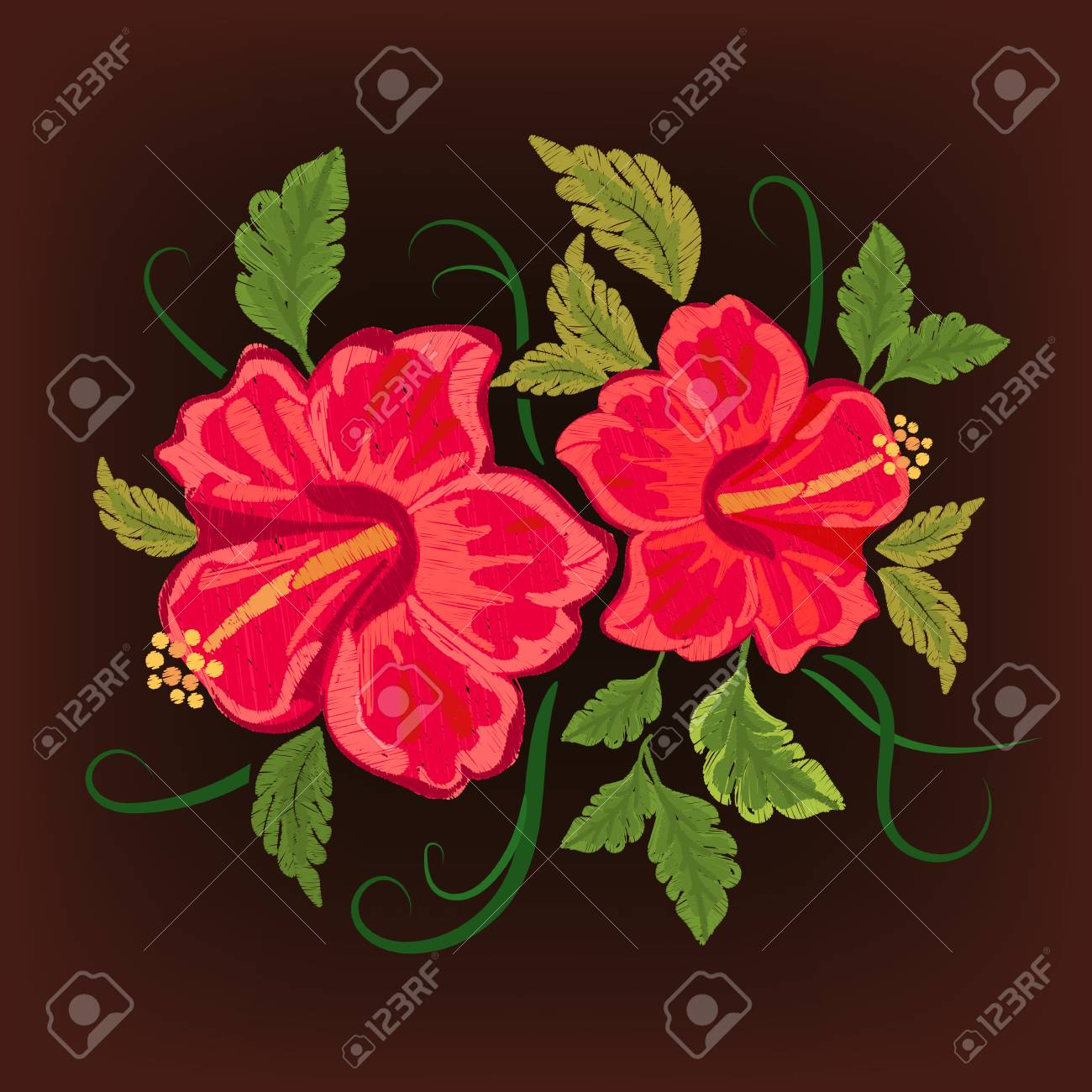 Hawaii Symbol Hibiscus Embroidery Royalty Free Cliparts Vectors
