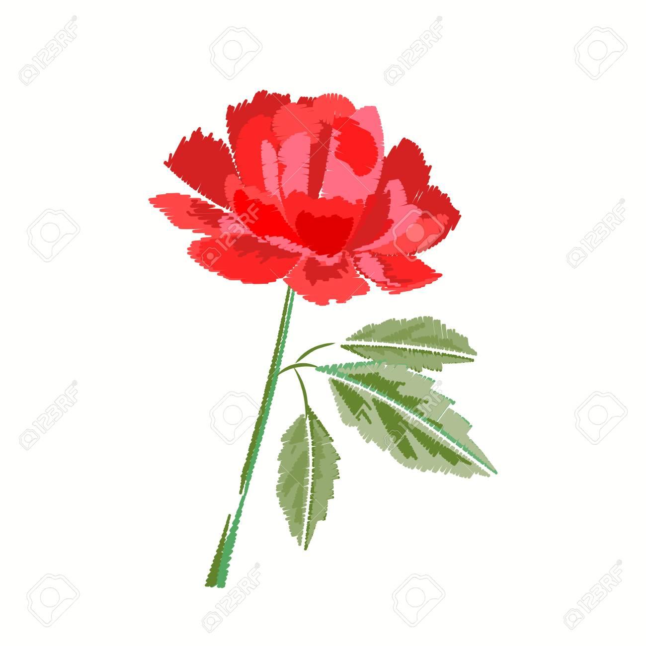 Bordado De Rose Roja En Blanco. Patrón Floral Bordado Para ...