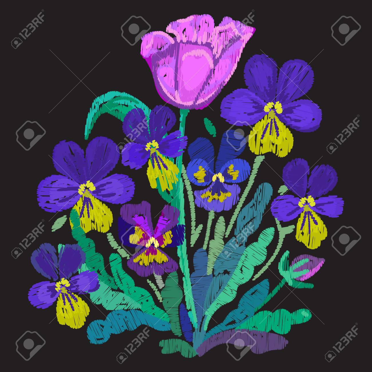 Tulip And Violet Flowers Pansies Embroidered Floral Embroidery Royalty Free Cliparts Vectors And Stock Illustration Image 86196078