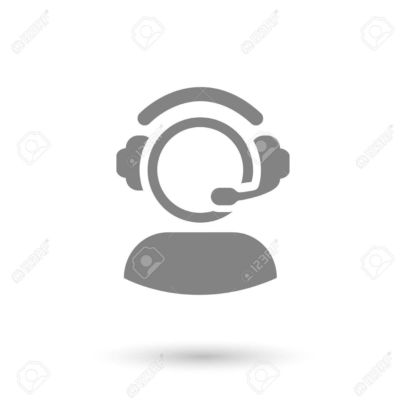 flat call center gray icon isolated with shadow - 40621222