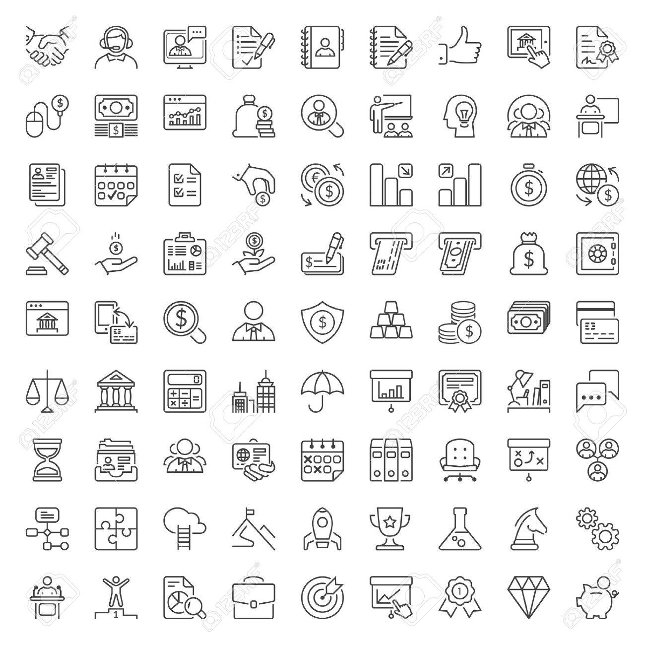 Thin line icons set. Flat symbols about business and finance - 63585449