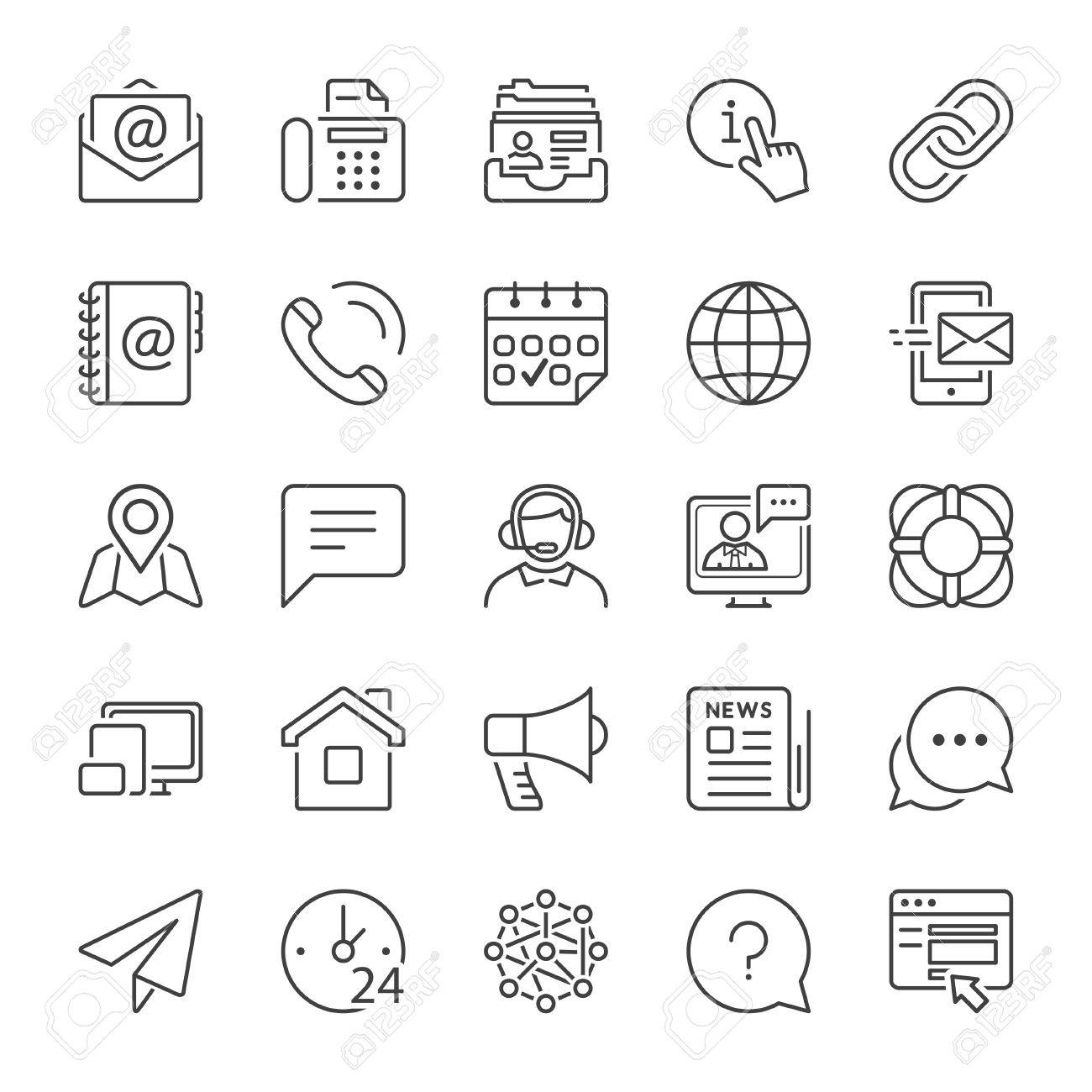 basic contact and communication icon set, thin line, black color - 64462133