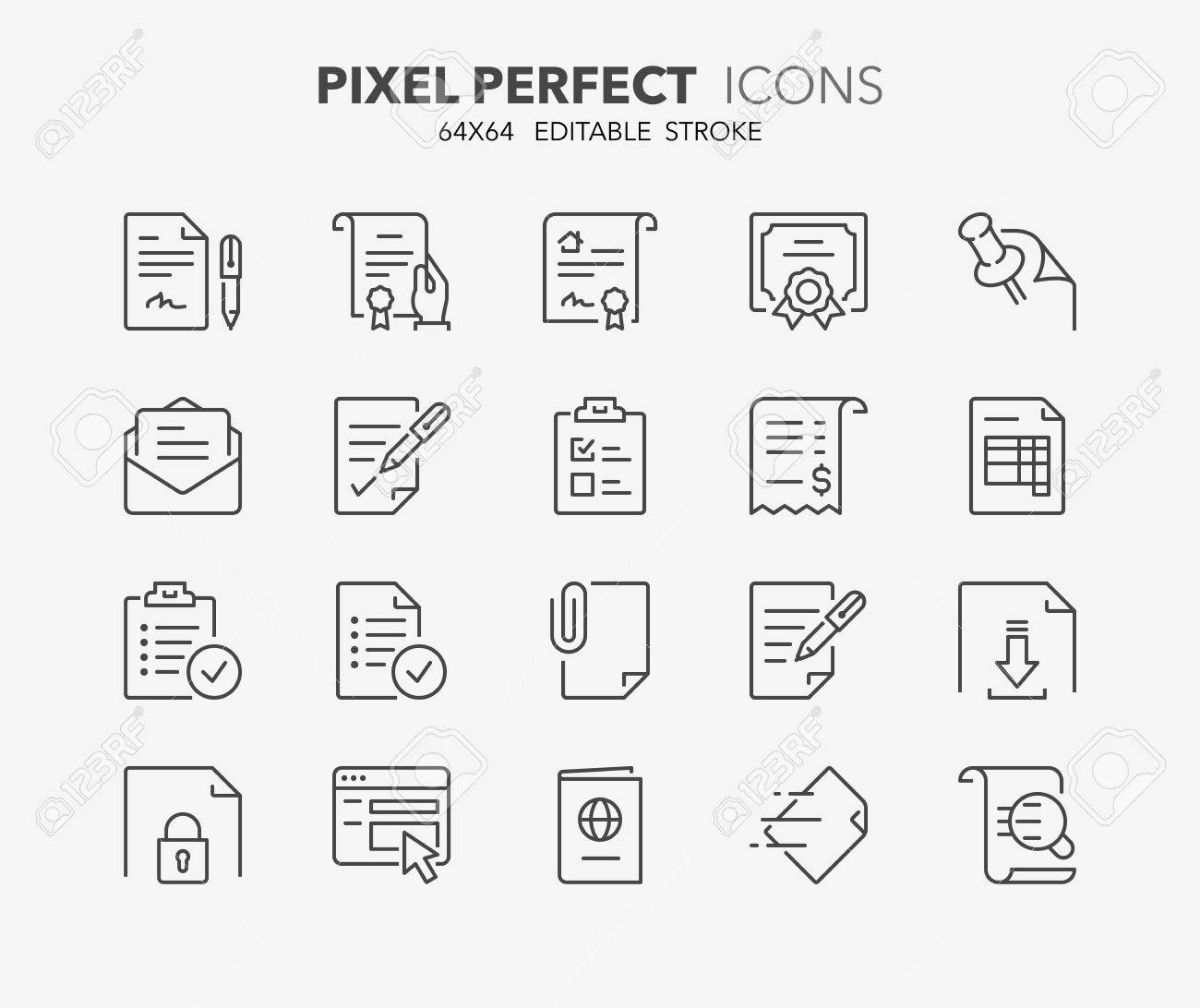 Set of outdoor and ecotourism activities, thin line icons. Contains icons as contract, certificate, attachment, invoice, deed of sale and more. Editable vector stroke. 64x64 Pixel Perfect. - 74291641