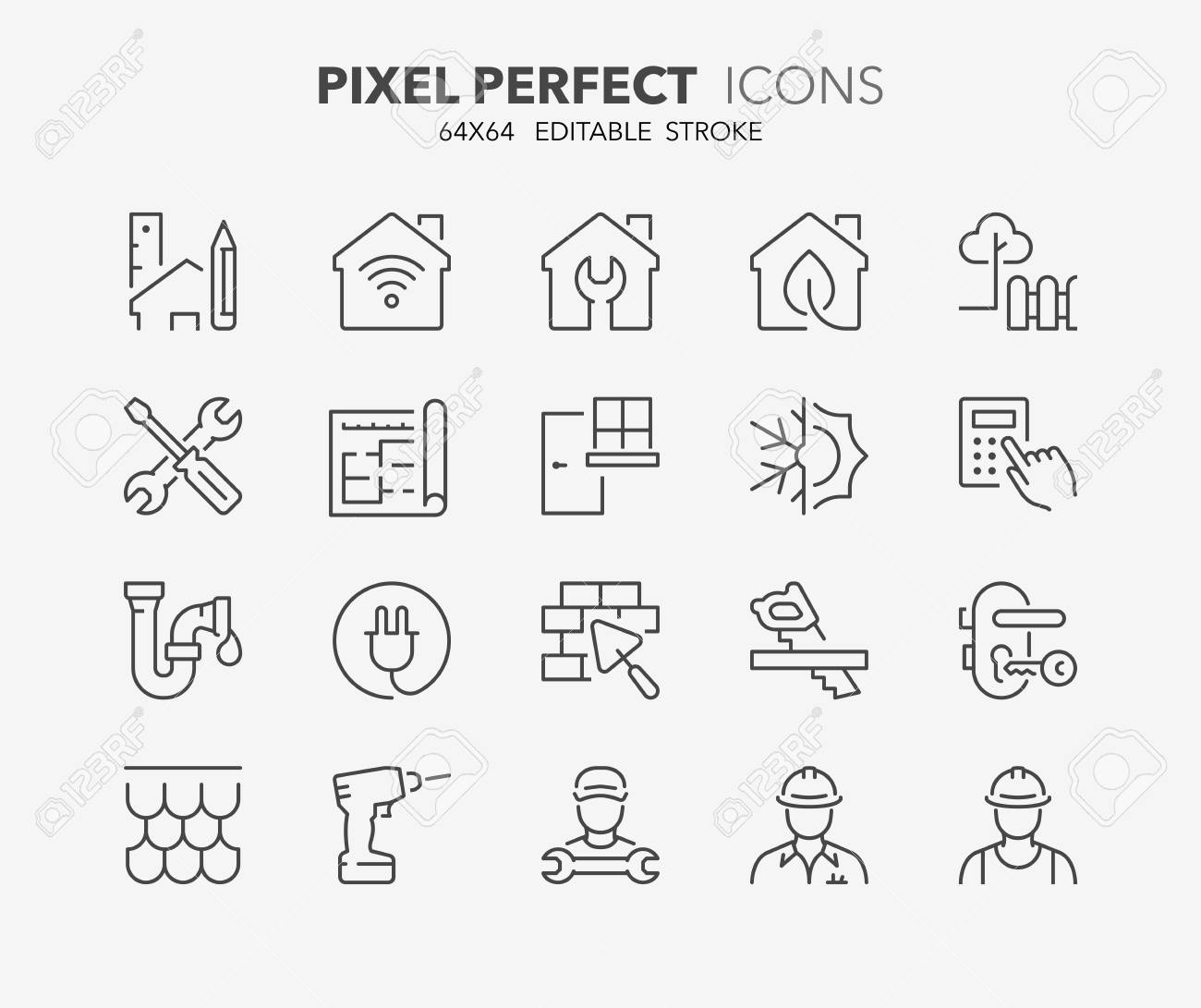 Thin line icons set of renovation, improvement and repair. Outline symbol collection. Editable vector stroke. 64x64 Pixel Perfect. - 95966703