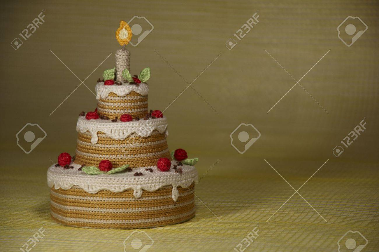 Cake Of Yarn Postcard Birthday Stock Photo