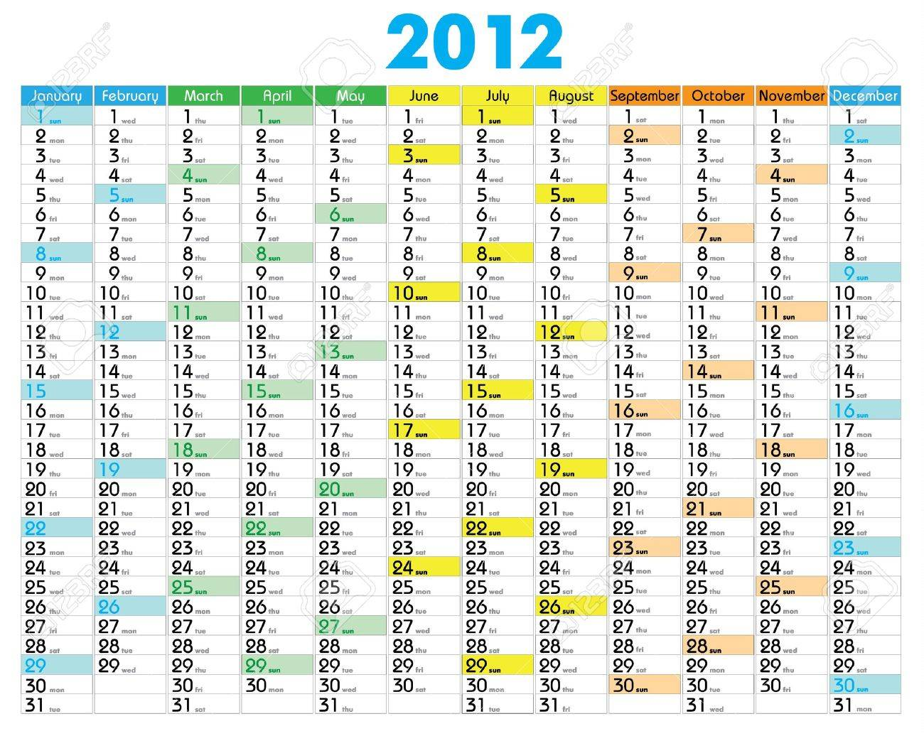 Vector Calendar for 2012 year with graphic elements Stock Vector - 9708068