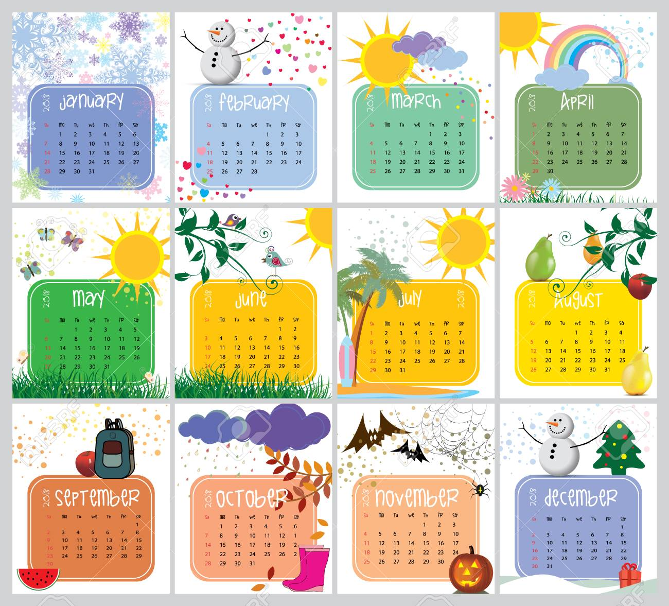 Vector Calendar With A Unique Design For 2018 Royalty Free Cliparts