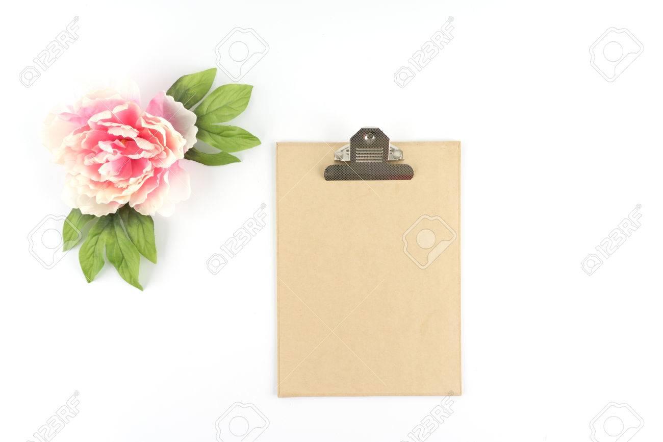 Brown Kraft Paper Clipboard W Pink Peony Flower Silk Artificial