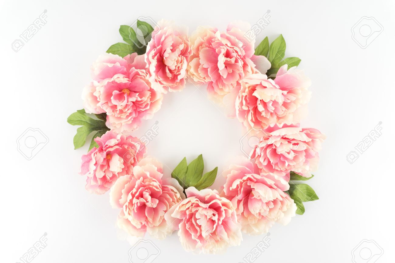 Pink Peony Flower Wreath Circle On A White Styled Desktop Stock