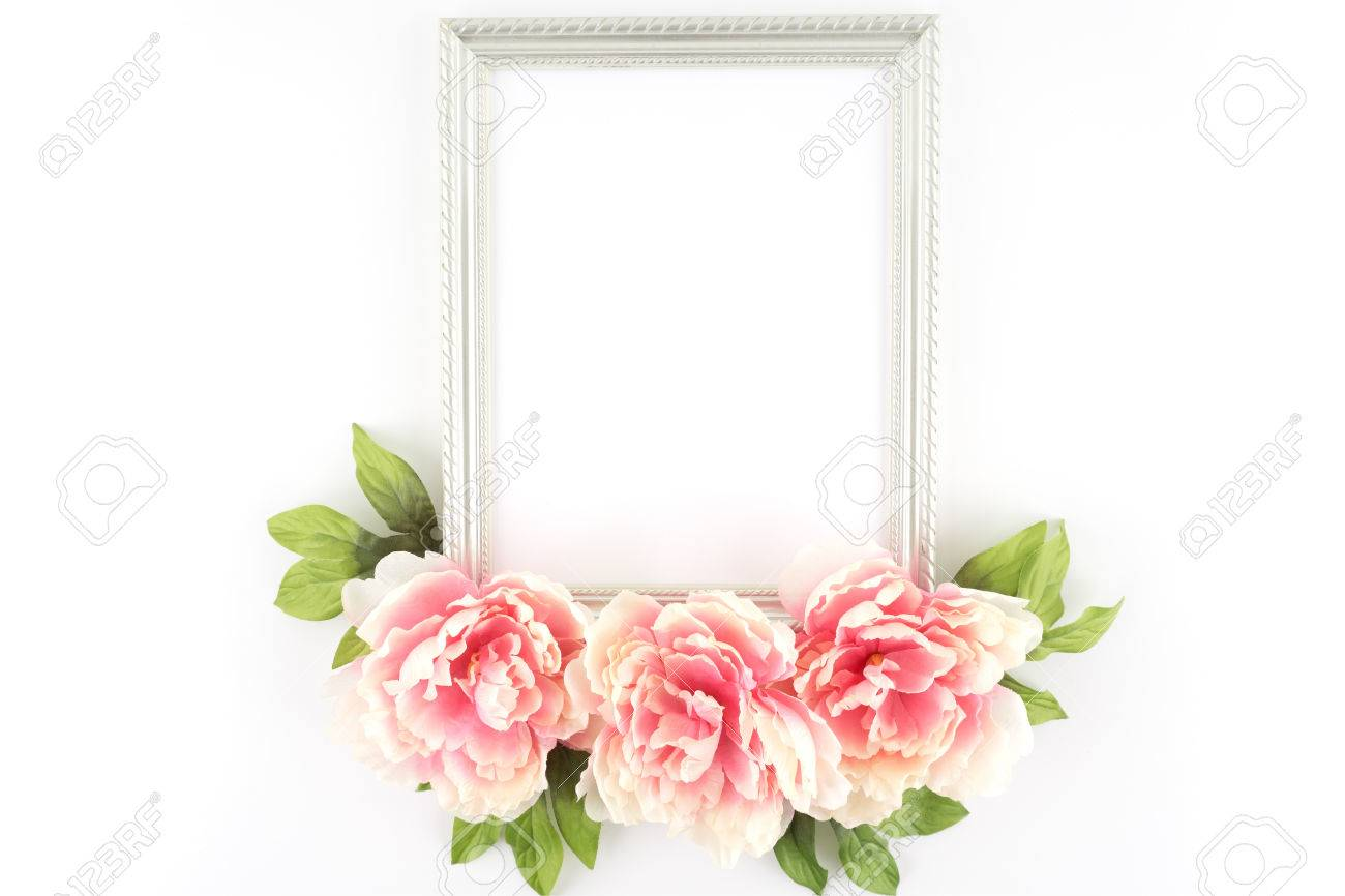 Pink peony flowers silver frame silk artificial flowers stock pink peony flowers silver frame silk artificial flowers crafts stock photo 42145069 mightylinksfo