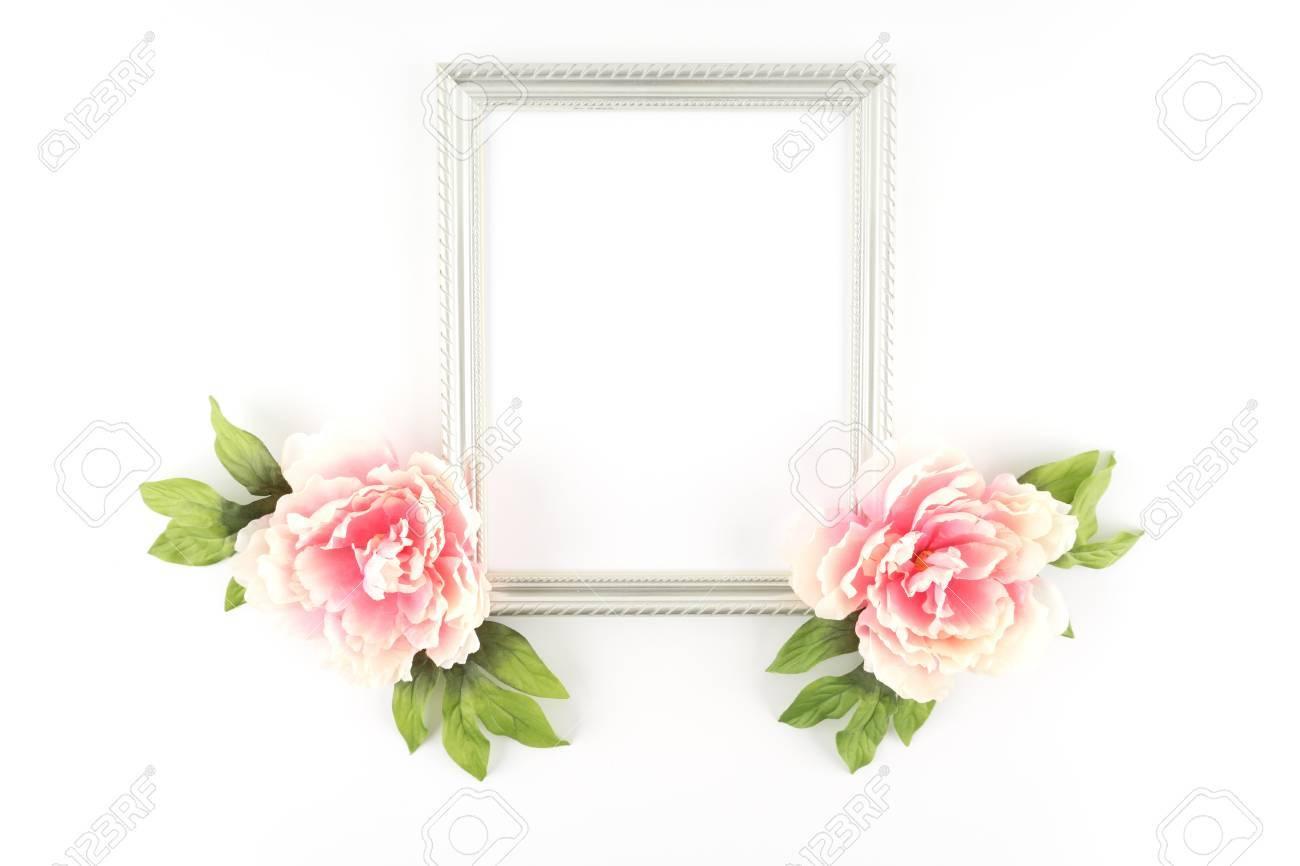Pink peony flowers silver frame silk artificial flowers stock pink peony flowers silver frame silk artificial flowers crafts stock photo 42145155 mightylinksfo
