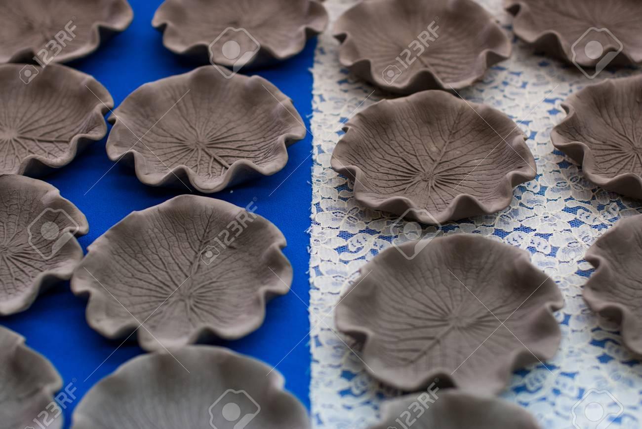 Handmade ceramic plates patterned leaves in Ranong Thailand Stock Photo - 23384762 & Handmade Ceramic Plates Patterned Leaves In Ranong Thailand Stock ...