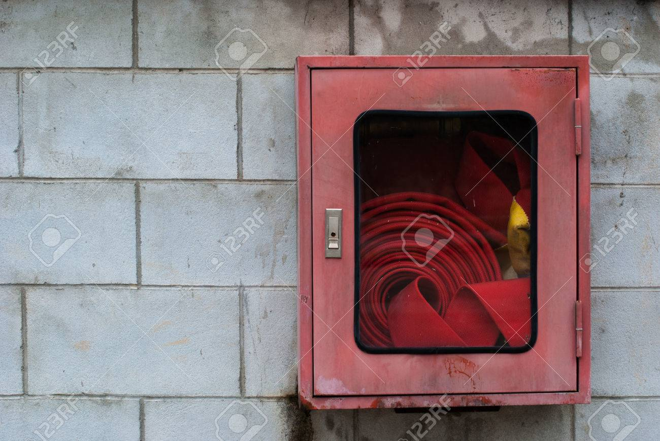 American Fire Hose And Cabinet Fire Hose Cabinet In The Red Box On The Wall Stock Photo Picture