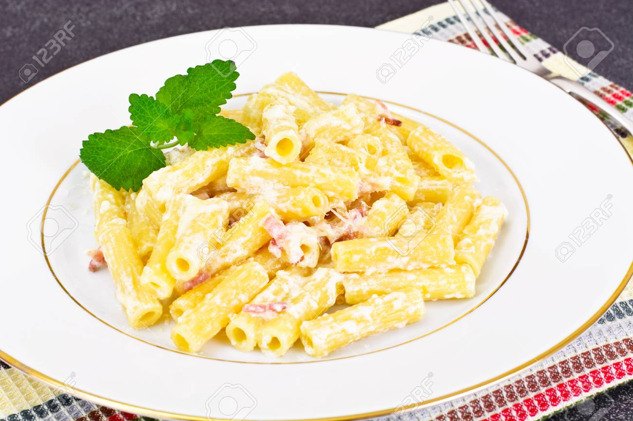 Pasta With Carbonara Sauce Italian Cuisine Studio Photo Stock Photo