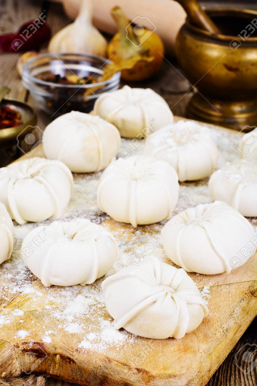 Khinkali National Dish Of Georgian Cuisine Studio Photo Stock Photo