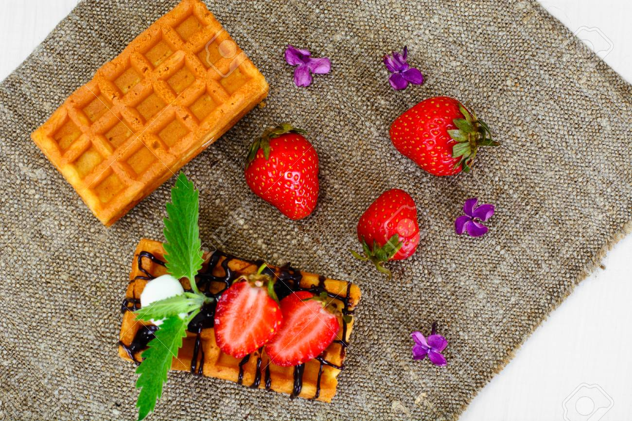 Vienna Belgian Waffles With Strawberry And Mint Studio Photo Stock
