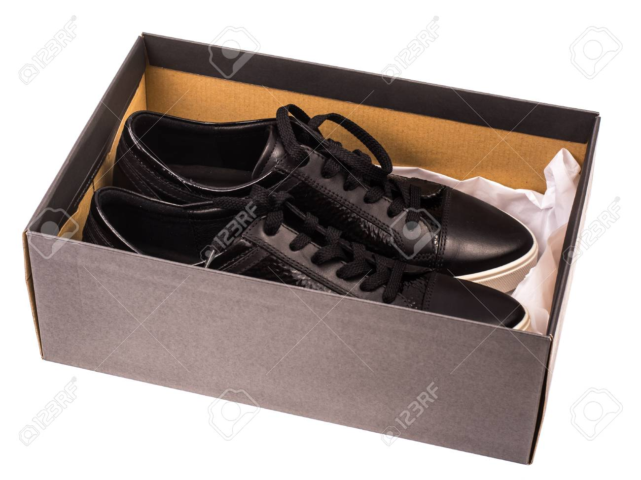 Black womens shoes with laces on the white soles Stock Photo - 95151119 fcc7673ff