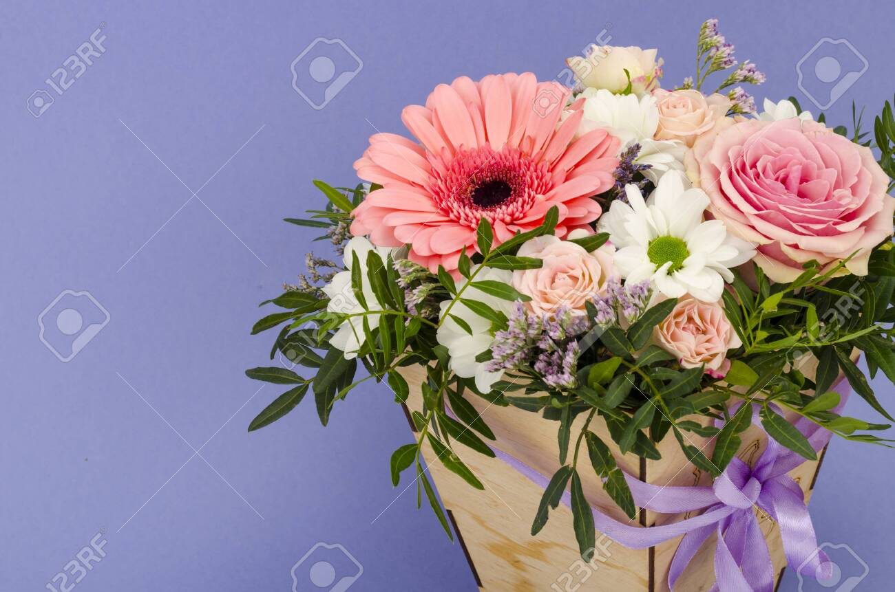 Flowers Bouquet In Stylish Wooden Box Studio Photo Stock Photo Picture And Royalty Free Image Image 152449205