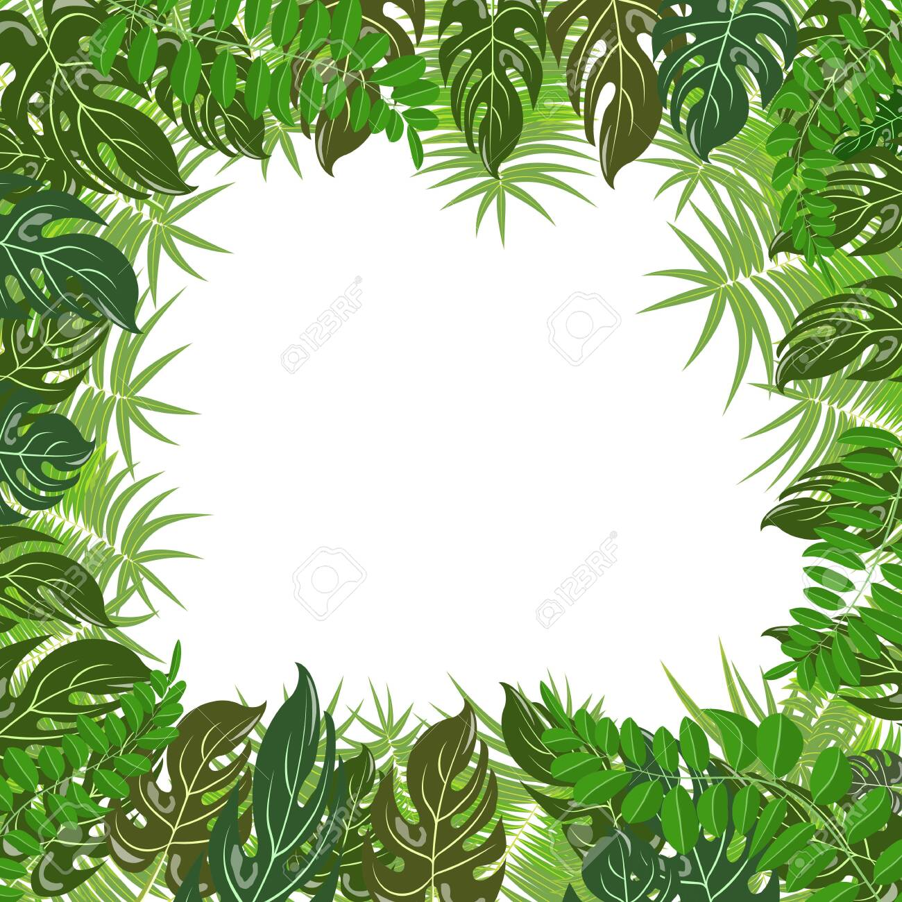 Trendy tropical leaves nature vector poster background - 151697708