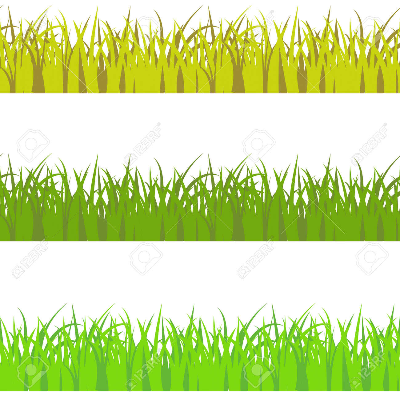 Vector set of 3 vary colors seamless pattern grass. Light green, dark green, and yellow savan style color grass props decor. - 169039176