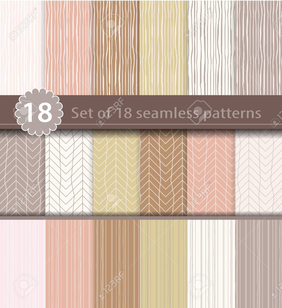 Set of 18 seamless patterns, wood, line art design Stock Vector - 43526525
