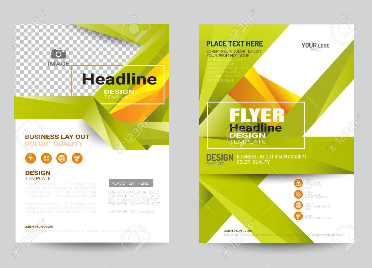 Corporate Brochure Design Layout Template In A4 Size Colorful Style