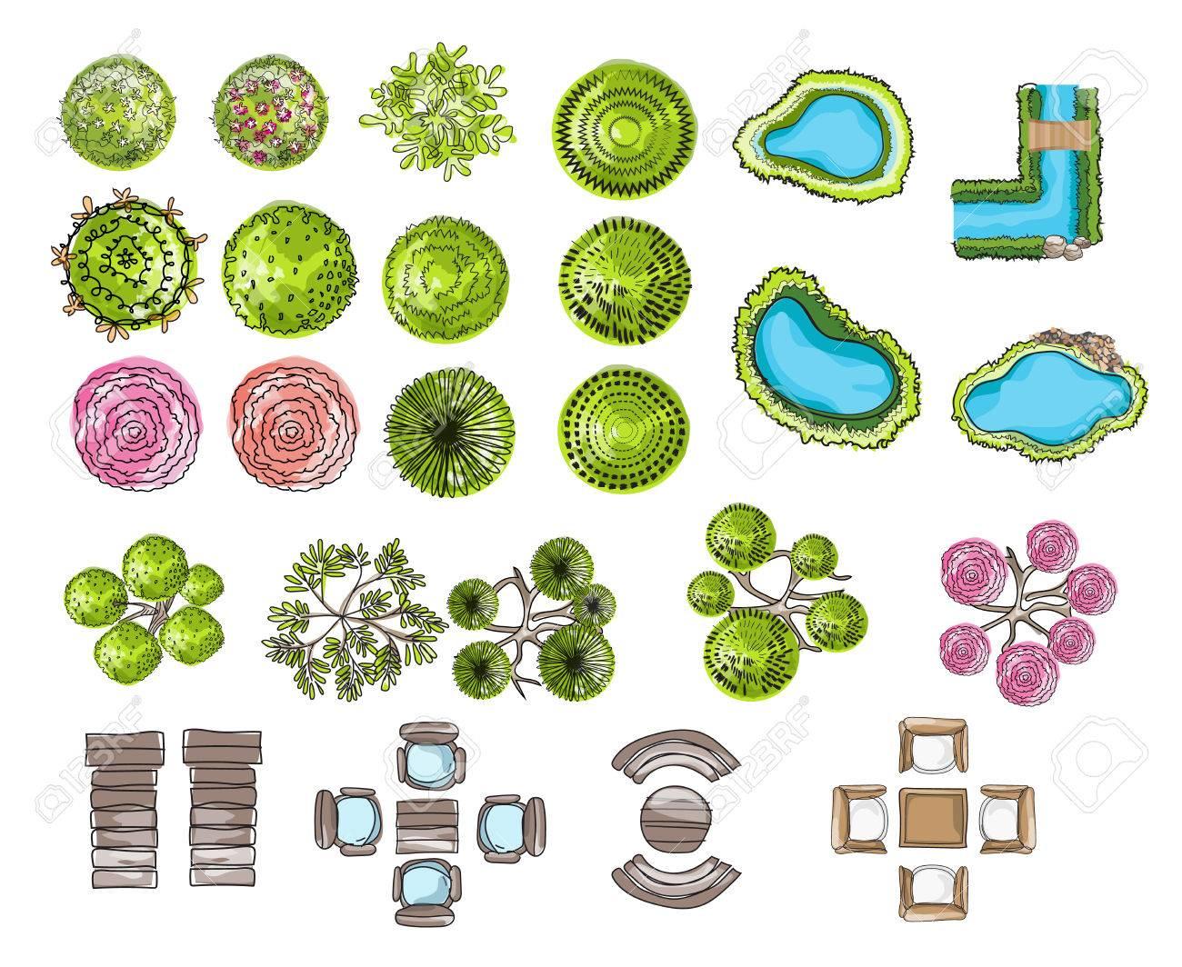 set of tree top symbols, for architectural or landscape design,