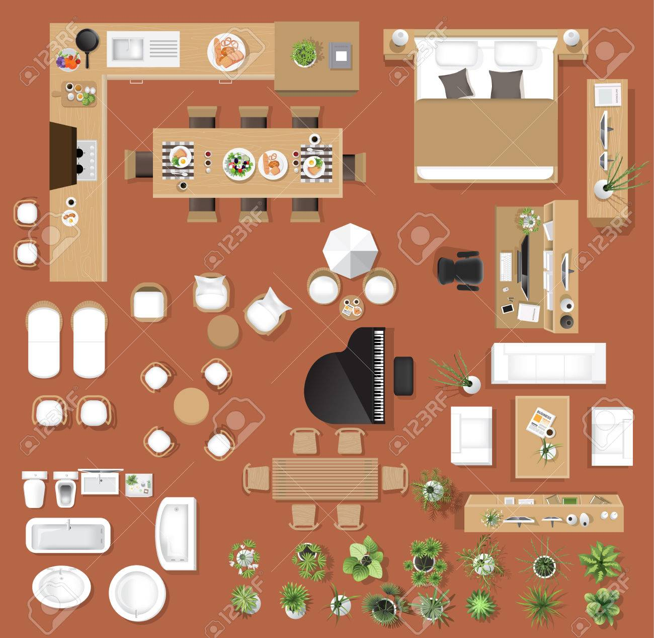 Interior icons top view, tree ,furniture, bed,sofa, armchair, for architectural or landscape design, for map.vector illustration - 83183402