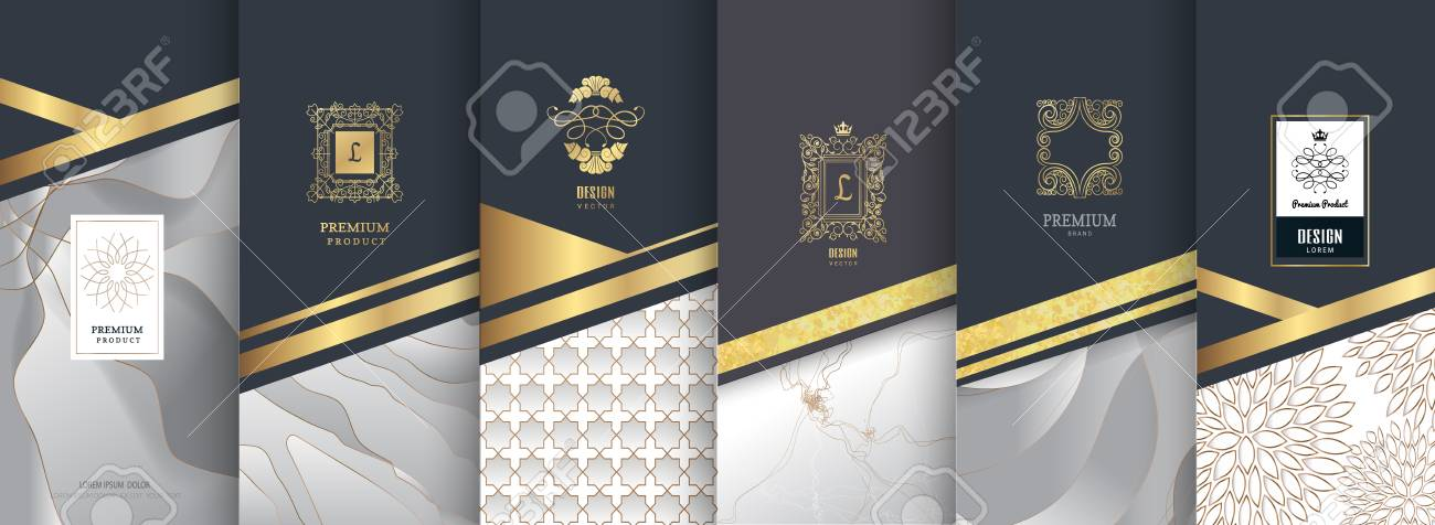 Collection of design elements, labels, icon, frames for packaging, design of luxury products. Made with golden foil. Isolated on silver and marble background. vector illustration - 97058908