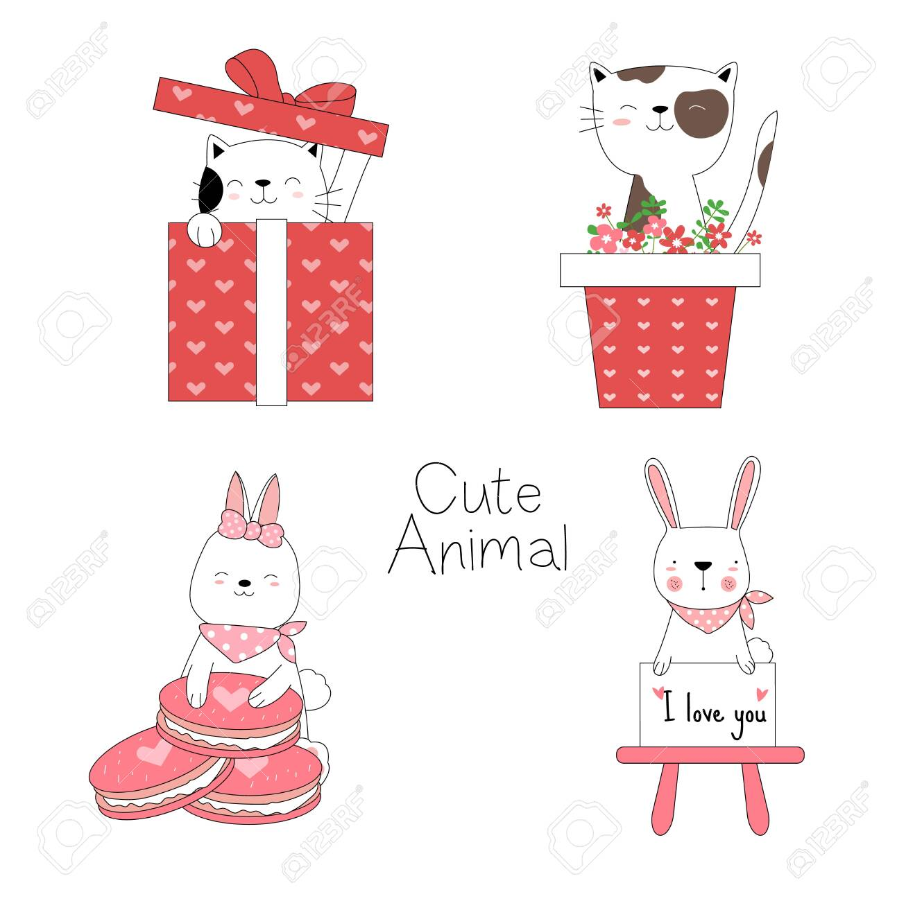 Cute Baby Animals With Flower Gift Box Cartoon Hand Drawn Style For