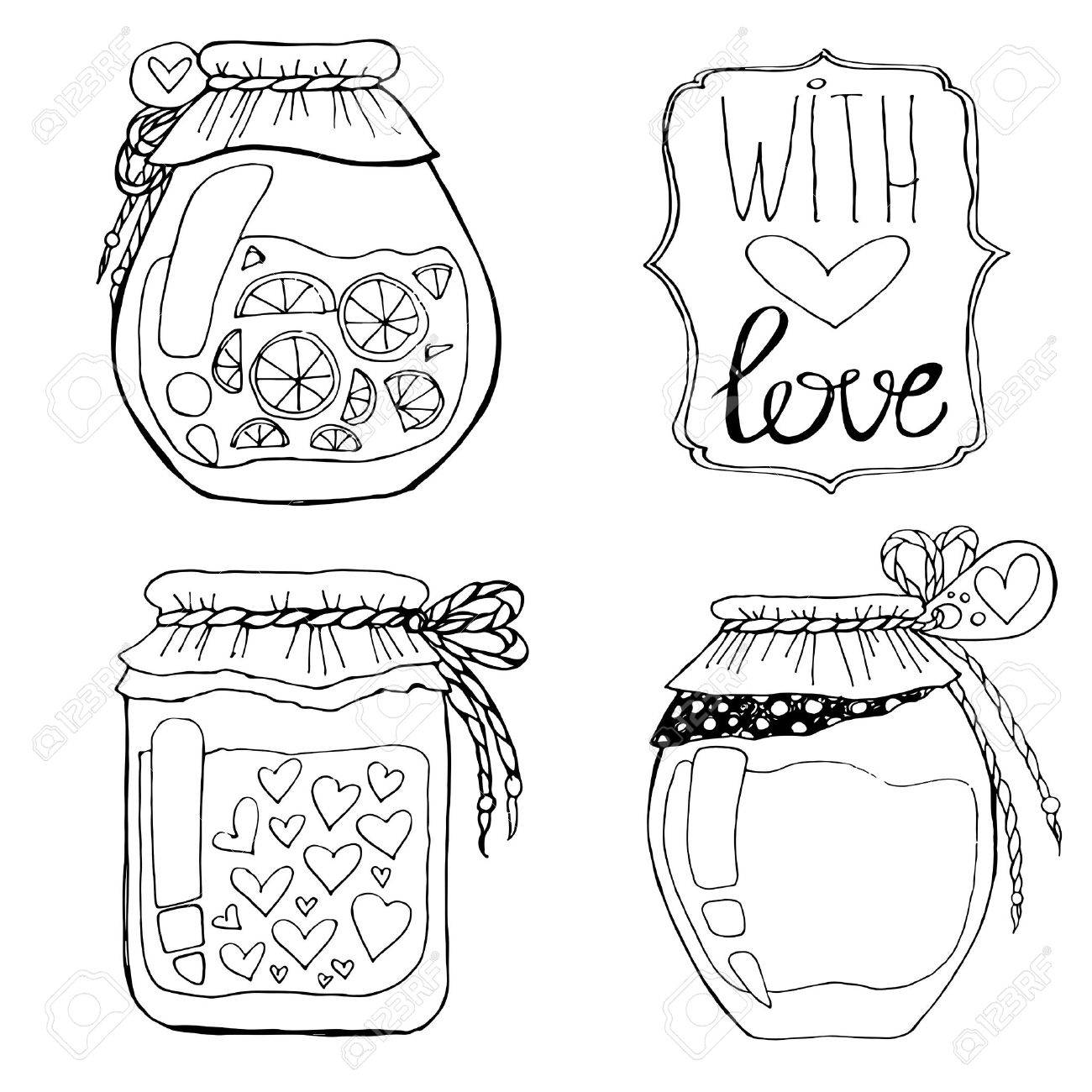 Jars Drawing a Set of Hand-drawn Cans