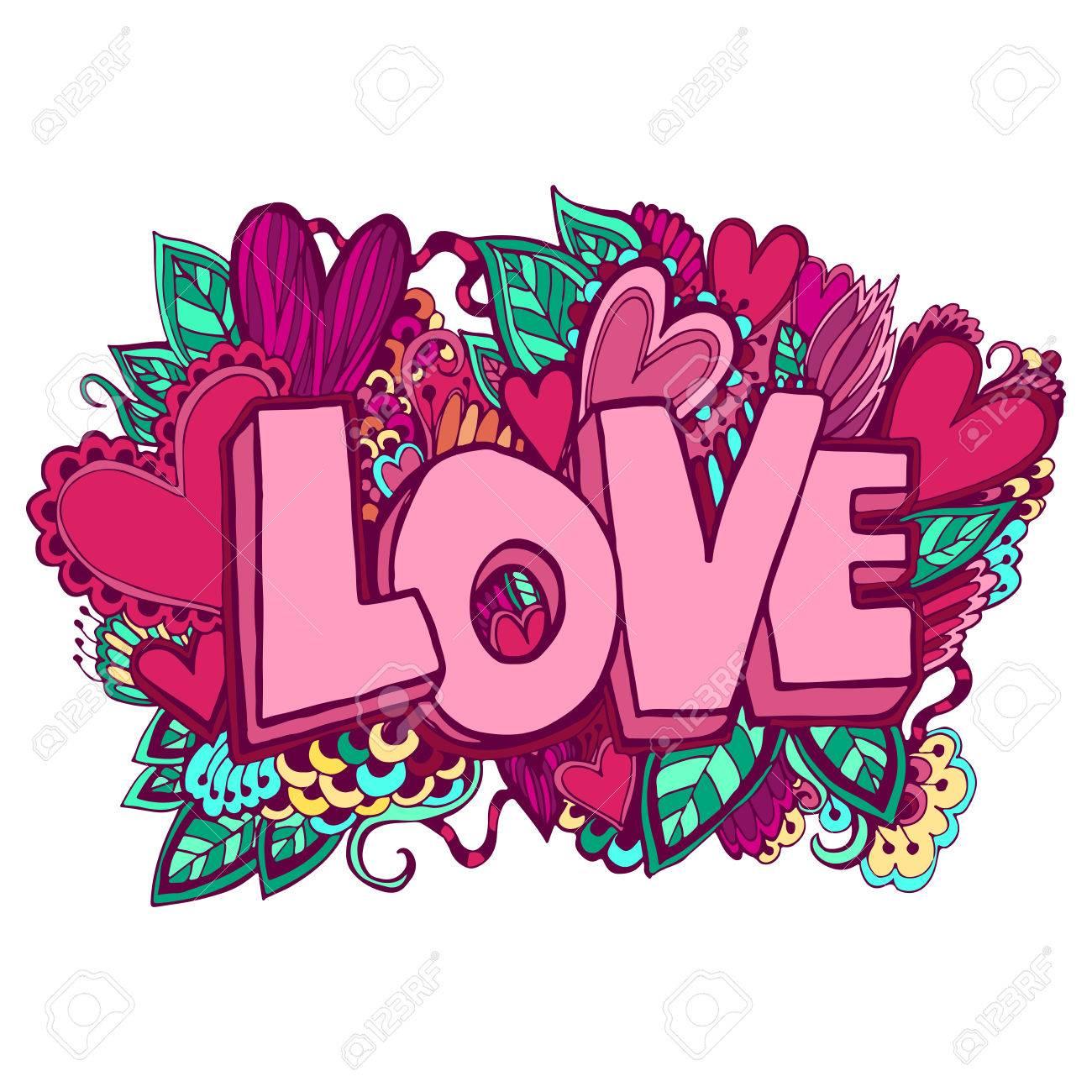 Amor Mano Letras Y Garabatos Elementos De Fondo Boceto Ilustración